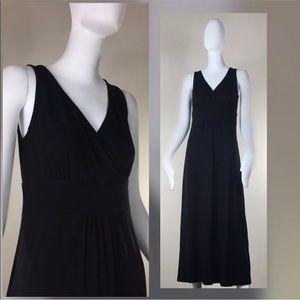 Eileen Fisher Faux Wrap V Neck Midi Long Dress